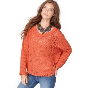Free People Orange Rust V Neck Sweater